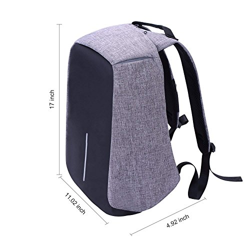 Laptop Backpack business anti-theft waterproof travel computer backpack with USB charging port college school computer bag for women & men fits 15.6 Inch Laptop and Notebook - Grey by Langus (Image #5)
