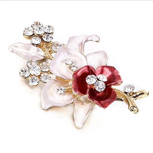 Rurah Flower Oil Drop Rhinestone Flower Brooch Clothing Wedding Corsage Small Flower Brooches ()