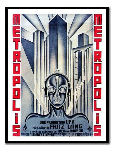 Iposters Metropolis Art Deco Movie Poster Print Black Framed - 41 X 31 Cms (approx 16 X 12 Inches)
