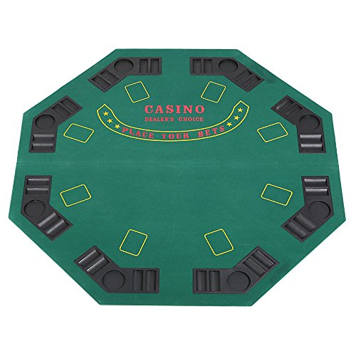 """Lucky Tree 47"""" Folding Poker Table Top 8 Players Octagon Felt Topper Casino Blackjack Texas Holdem Game Layout with Drink Holders and Poker Chip Tray, Green by Lucky Tree"""