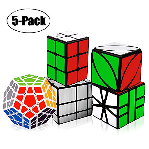 Tresbro Magic Cube, Qiyi 3x3 2x2x3 Speed Cube Smooth Mirror Cube Ivy Cube SQ-1 Cube Creative Educational Toys for Kids Boys Girls[ IQ Tester] [5 Pack]
