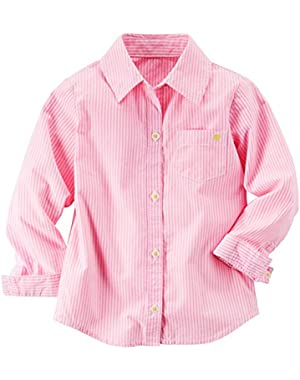 Baby Girls' Button Front Striped Shirt Top (24m, Pink)