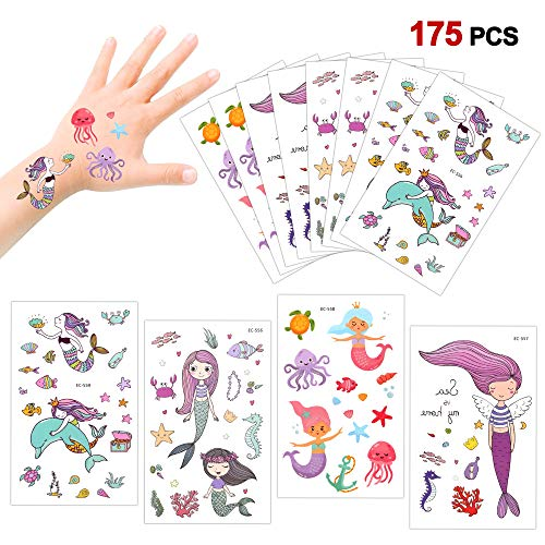 Temporary Tattoos for Kids(175pcs),Konsait Fake Mermaid Assorted Temporary Tattoos For Children Girls Birthday Party Favors Supplies Great Kids Party Accessories Goodie Bag Stuffers Party Fillers -