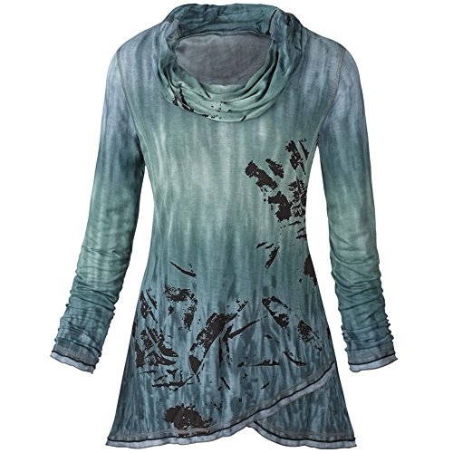 Women's Cowl Neck Tunic Top - Painted Lindsay Blue Ombre Shirt - 2X