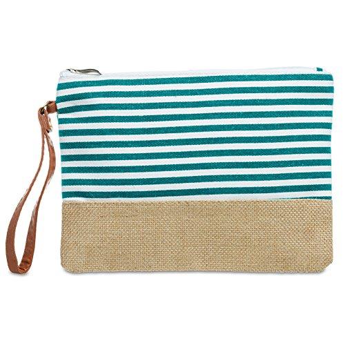 and with of Summer Evening Made Bag Clutch Turquoise TS355 CASPAR Ladies Maritim Zip Pattern Jute Stripe nq0UwxzUO