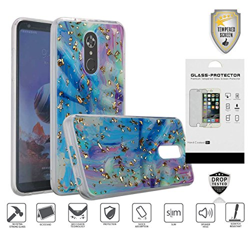 LG Stylo 4 Case, with Tempered Glass Screen Protector, New Frozen Glitter Trendy Shiny Sparkle Marble Design [Shockproof] TPU Case (Colorful Frozen Glitter)