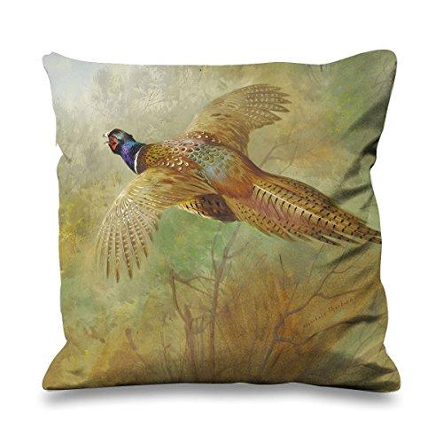 Pheasant Silk - Archibald Thorburn Flying Pheasant Faux Silk 45cm x 45cm Sofa Cushion