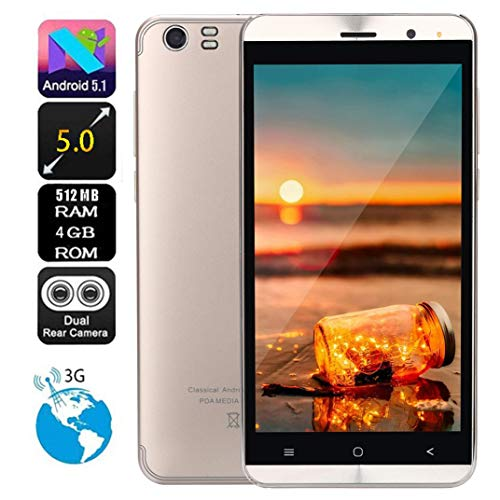 Price comparison product image Liu Nian 5.0''Ultrathin Cell Phone Dual Camera Android 5.1 512MB RAM 4GB ROM Quad Core Smartphone Dual Sim 3G Unlocked Mobile Phone Smartphone (Gold)