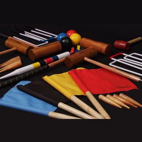 Übergames Extrem hochwertiges Pro Croquet / Krocket Set für Fortgeschrittene (4 Spieler) , Krocket Set aus Hartholz ECO-Holz für 4 Pers.