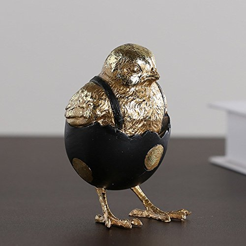 Lucky House Hand-Painted Shell Chicken Creative Chicken Hatching Resin Craft Gift Gold by Lucky House (Image #2)