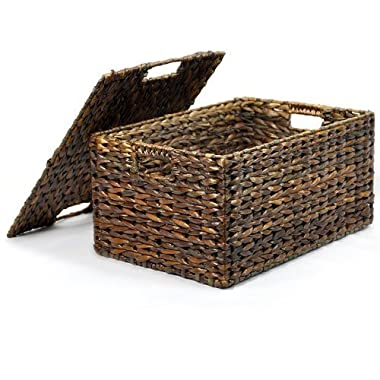 The Lucky Clover Trading Mahogany Maize Storage Basket with Removable Lid