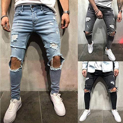 Sfilacciato Knee Skinny Nero Fashion Strappati Vintage Pantaloni Ristrutturato Denim Jeans Fit Ragazzi Da Classiche Uomo Stretch aZnzPqw