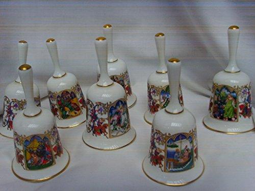 Romance of Camelot 24K Gold Trim Porcelain Vintage Bells - Set of 8 - King Arthur, Guinevere, Lancelot, Merlin Story