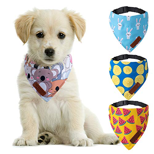 HUIIT Dog Bandanas 4 Pack Dog Bandana Collar with Adjustable Set Scarf Accessories for Small Dogs and Cats
