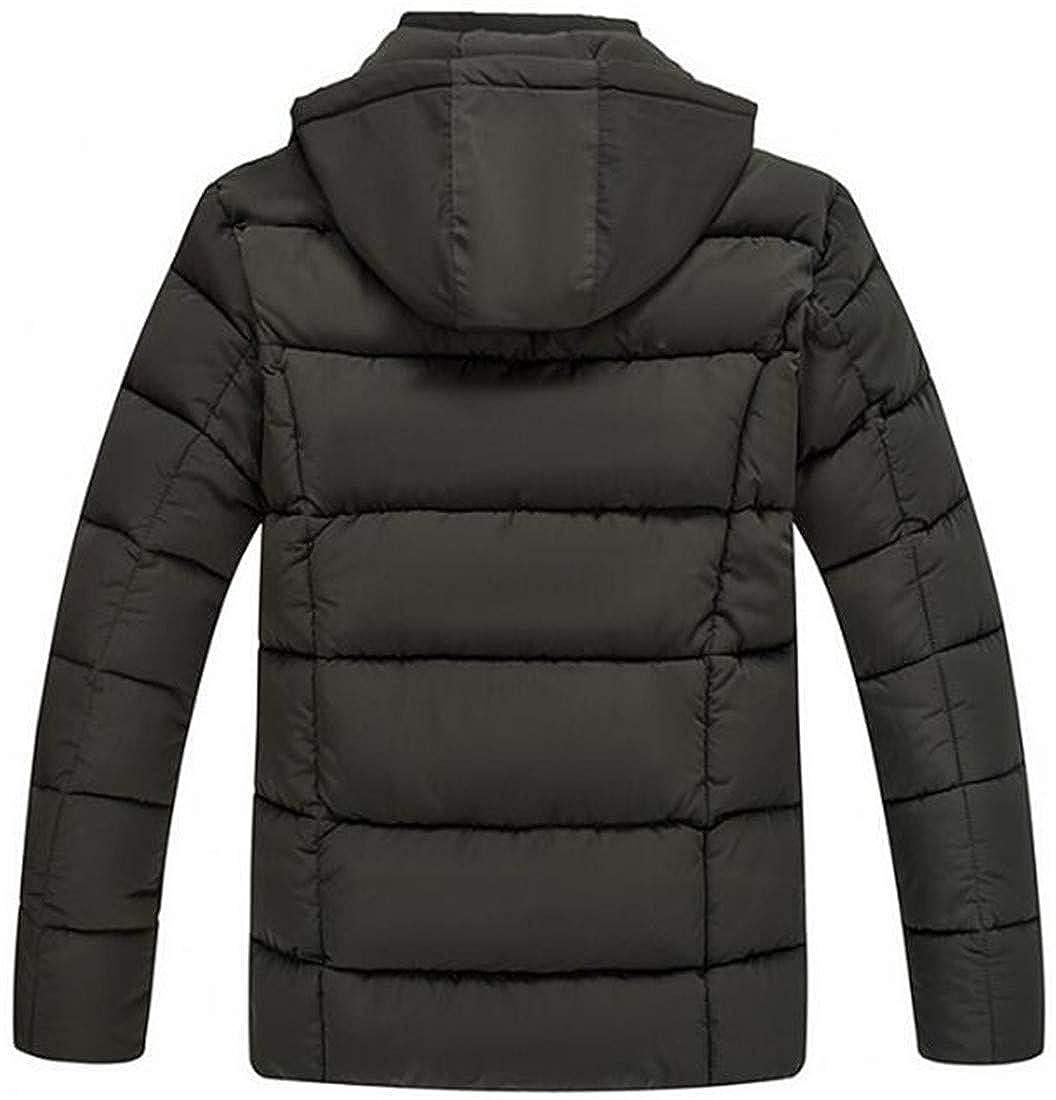 Cromoncent Men Detachable Hood Waterproof Thickened Outdoor Winter Overcoats Parkas Coats