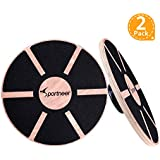 Sportneer Balance Boards, 2 Pack Wooden Wobble Board for Exercise, Gym, Stability Training, Physical Therapy, 15.7'' Diameter, Black