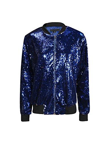 Richlulu Womens Sparkly Sequin Lightweight Long Sleeve Outwear Bomber Jacket