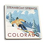 Lantern Press Steamboat Springs, Colorado - Downhill Skier (Set of 4 Ceramic Coasters - Cork-Backed, Absorbent)