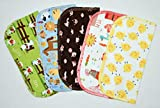 1 Ply Printed Flannel 8x8 Inches Little Wipes Set of 5 Farm Life