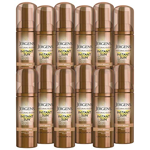 Jergens Natural Glow Instant Sun Body Mousse, Light Bronze Tan, 12-pack, 1.5 Ounce Sunless Self-tanner, for a Natural-looking Tan (Jergens Instant Sun Mousse Before And After)