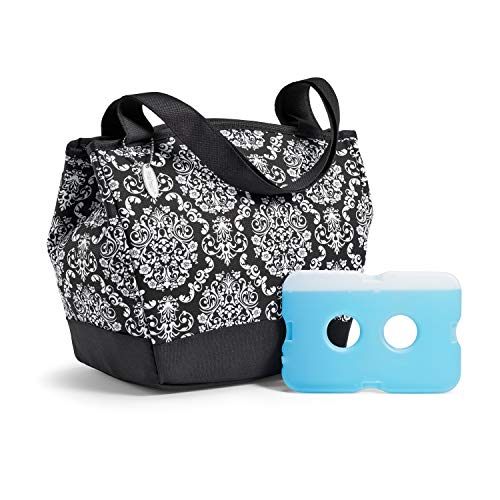 - Fit & Fresh 926FF1758 Hyannis Insulated Lunch Women, Soft Cooler Bag with Ice Pack for Work and On-The-Go, Black & White Damask, 11.5