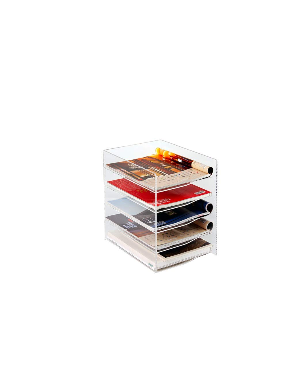Home Office Furniture Desktop File Holder Magazine Rack File Filing Storage Rack Transparent Color by File Cabinets