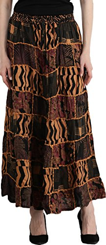 - Exotic India Long Printed Dori Skirt from Gujarat with Patch Work - Color Caviar Black