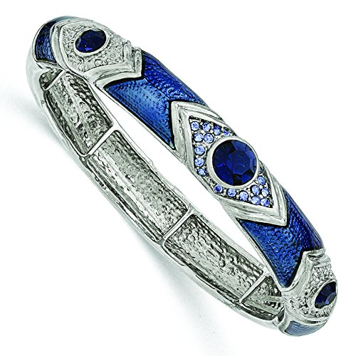 Silver-tone Dark & Light Blue Crystal & Glass Enamel Stretch (Enamel Crystal Stretch Bracelet)