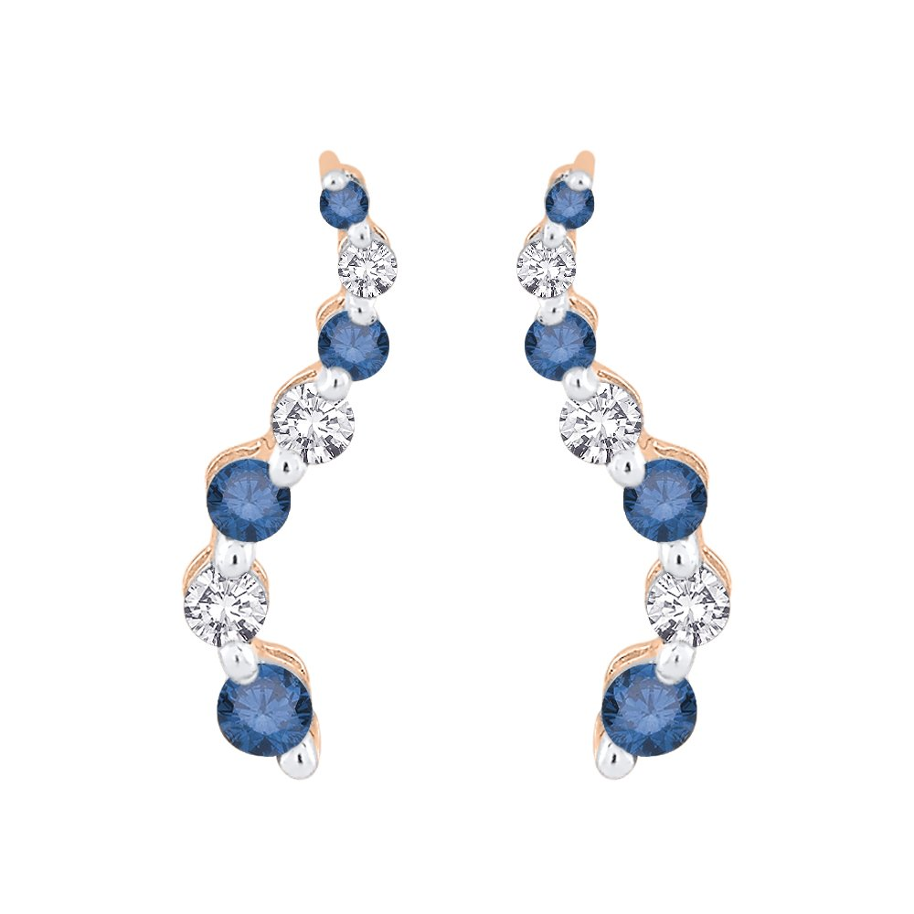 Alternating Blue and White Diamond ''Journey of Love'' Curve Earrings in 14K Rose Gold (1/2 cttw) (Color GH, Clarity I2-I3)