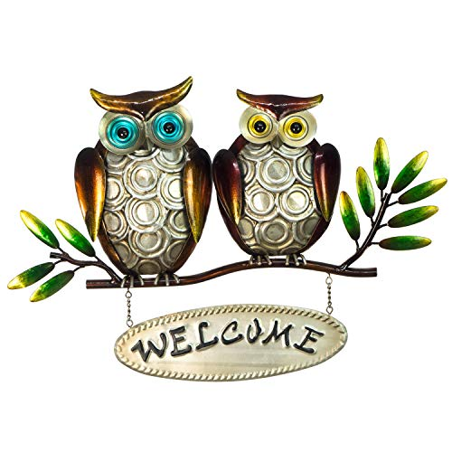 Owl Welcome Sign - 3D Metal Design - Hand-Painted - 18 ½