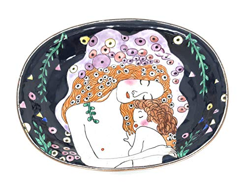 Kelvin Chen Klimt Mother and Child Catchall Caddy Vanity Tray, Enameled Soap Dish 5 Inches -