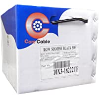 GadKo Bulk RG59 Siamese Coaxial/Power Cable, Black, Solid Core (Copper) Coax, 18/2 (18 AWG 2 Conductor) Stranded Copper Power, Pullbox, 500 foot