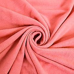 Corallish Stretch Jersey With Merino-like Wool Brush Hacci Brush Knit Fabric