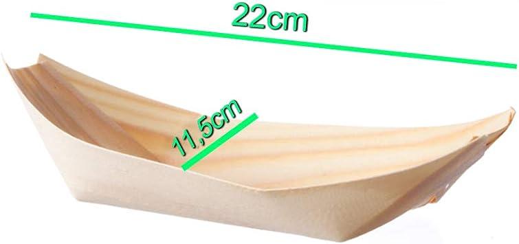 Biodegradables Palucart 100 Cuencos de bamb/ú para Aperitivos de 22 x 11,5 cm Barco para Aperitivos