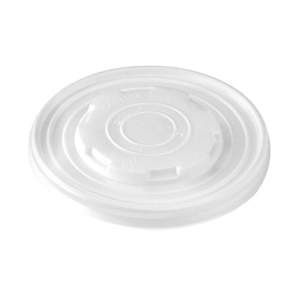 PacknWood PLA Plastic Lid for 12 oz., 16 oz., 24 oz. and 32 oz. Paper Soup Cups (Case of 1000)
