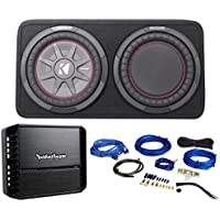 Package: Kicker 43TCWRT122 12 1000 Watt Subwoofers In Box Enclosure + Rockford Fosgate Prime R500X1D 500 Watt RMS Mono Block Class D Car Audio Amplifier + RCA Cables