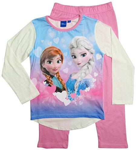 Frozen Pyjama Kollektion 2016 Die Eiskönigin 98 104 110 116 122 128 Schlafanzug Völlig Unverfroren Mädchen Lang Anna und Elsa Neu Creme-Rosa (104 - 110, Creme-Rosa)