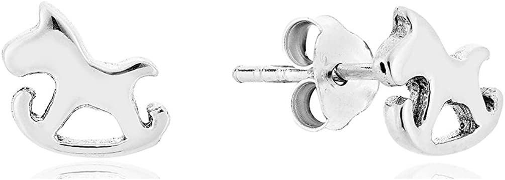 DTP Silver - Pendientes de mujer en forma de Caballo Mecedora 8 x 7 mm - Plata de Ley 925
