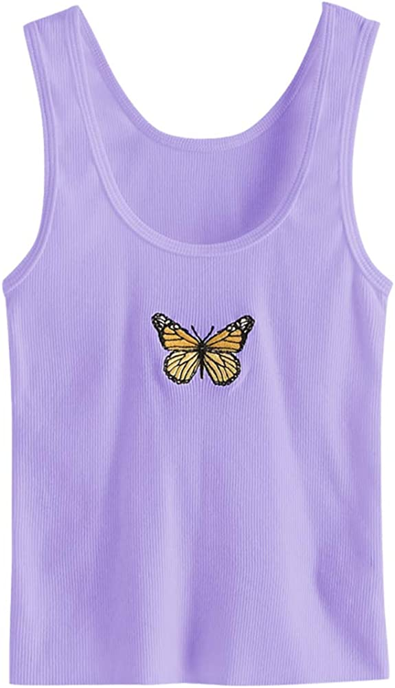 ZAFUL Womens Butterfly Graphic Tank Top Sleeveless Stretch Casual Basic Camisole