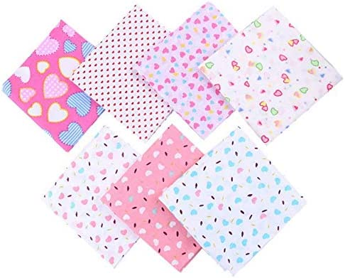 Pink Series Chris.W 28 Pcs 10 x 10 in Fat Quarter Natural Cotton Quilting Fabric Printed Fabric High Density Bundle Squares Patchwork Lint for DIY Sewing Handmade Bags Pillows