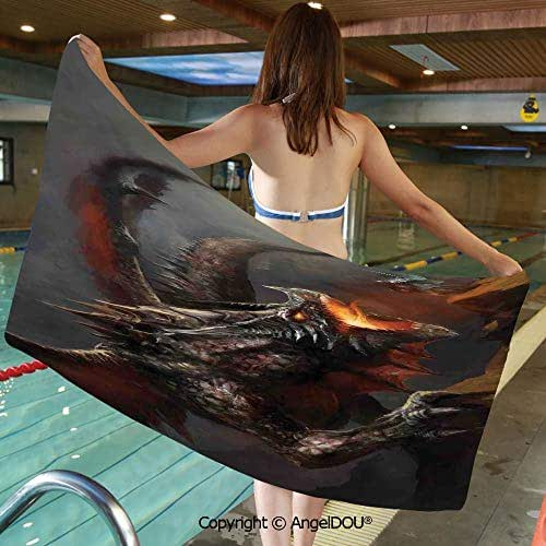 AngelDOU Large Gym Sport Swimming Pool Towel Fantasy Scene Fearless Knight Fighting with Dragon Mythology Art Microfiber Beach Towel Women Men.W13.7xL27.5(inch)
