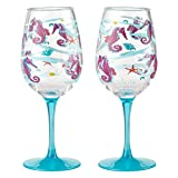 Enesco Designs by Lolita Seahorse Acrylic Wine Glasses, Set of 2, 16 oz.