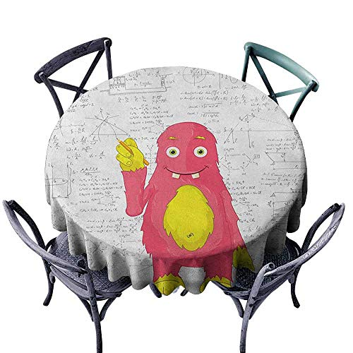 Geo Pink Wall - Modern Round Tablecloth Picnic Cloth Kids,Funny Smart Monster Doing Math on Wall Science Nerds Comic Illustration Pattern, Pink Yellow White Diameter 60