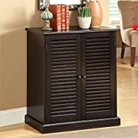1PerfectChoice Della Solid Wood Shoe Cabinet Sofa Table Stand Hallway 5 Shelves w/ Louver Doors Espresso