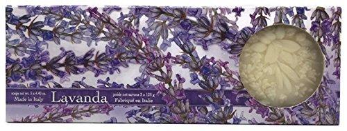 Saponificio Artigianale Fiorentino Lavender Italian Soap - 3 Floral Carved Soaps, 4.4 oz (Carved Italian)