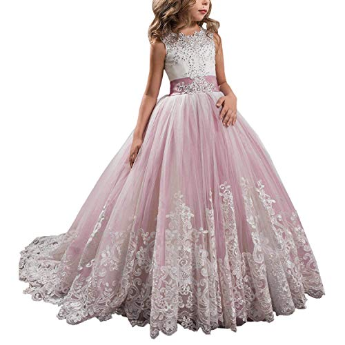 KSDN Wedding Flower Girls Dress Lace Tulle Communion Pageant Gown with Bow Blush Custom -