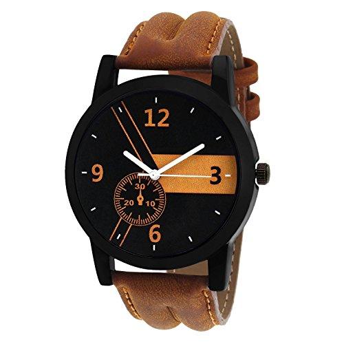 FINZ Men's Metal Analogue Quartz Brown and Black Dial Watch (MEN-WHITE_IIK10)
