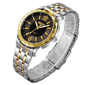 fenkoo Hombre Ropa Reloj Quartz resistente al agua aleación banda reloj de pulsera plata, negro