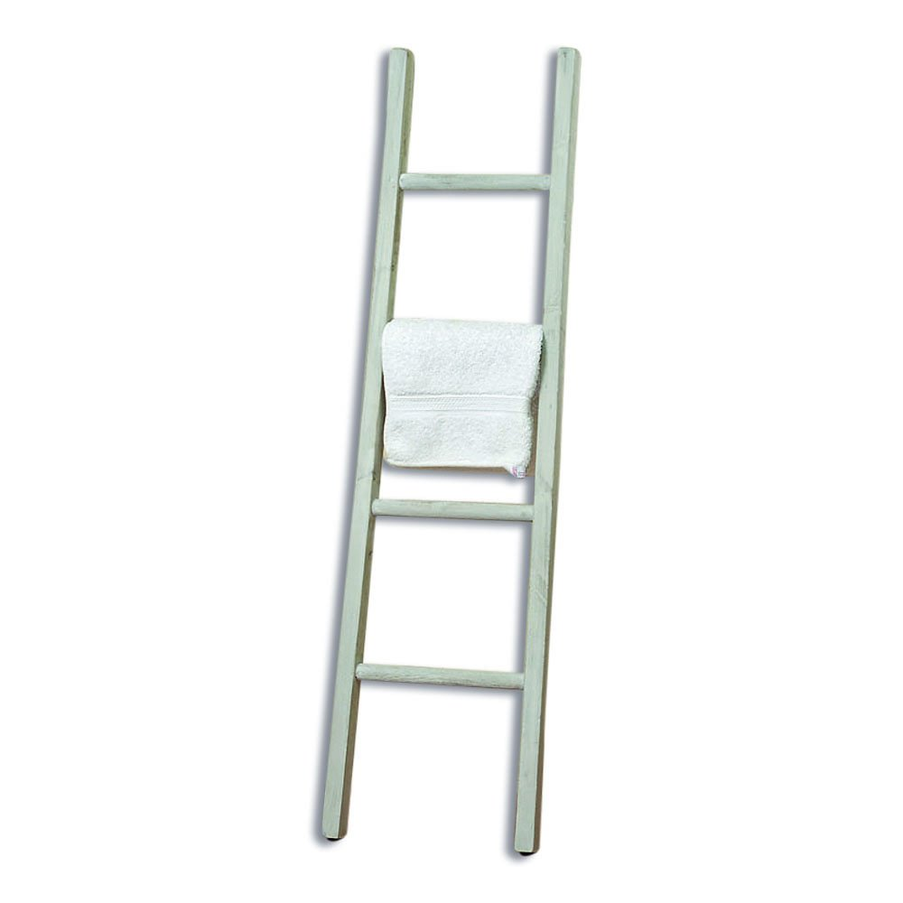 Whole House Worlds The Farmer's Market Towel Ladder, Handmade, White, Natural Wood, Rustic Style Rack, Approx. 3 Feet 10 Inches Tall, By