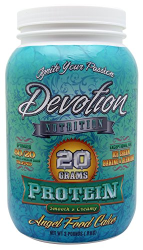 Devotion Nutrition Protein Powder, Angel Food Cake, 20g Protein, 1g MCT, High Protein, Low Carb, Whey/Casein Blend, Smooth Mix, 2lb Tub